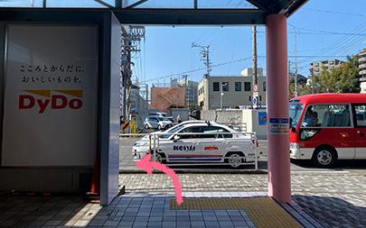 1.袖木駅を出て左へ